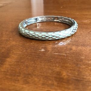 Silver and sea foam green bracelet